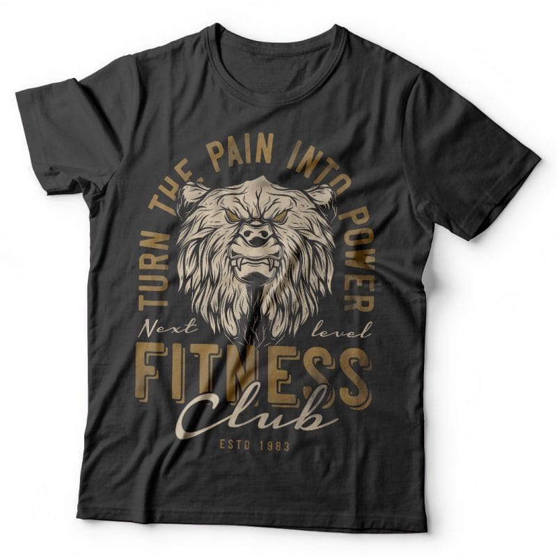 Bears fitness club. Vector t-shirt design tshirt designs for merch by amazon