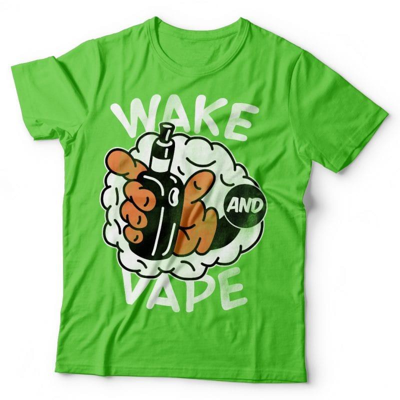 Wake and vape. Vector t-shirt design buy tshirt design