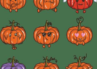 Pumpkin emoji vector t-shirt design