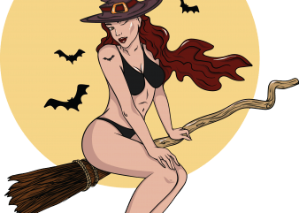 Sexy witch graphic t-shirt design