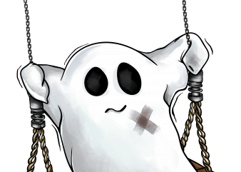 Swing ghost t shirt design template