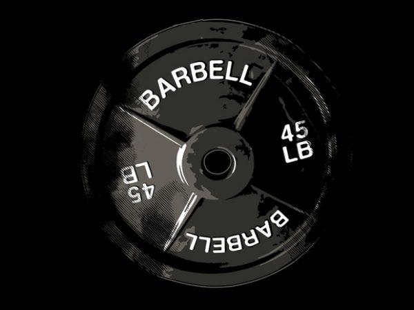 Powerlifting Barbell Plate t shirt illustration