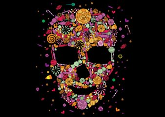 Candy Skull vector t-shirt design template