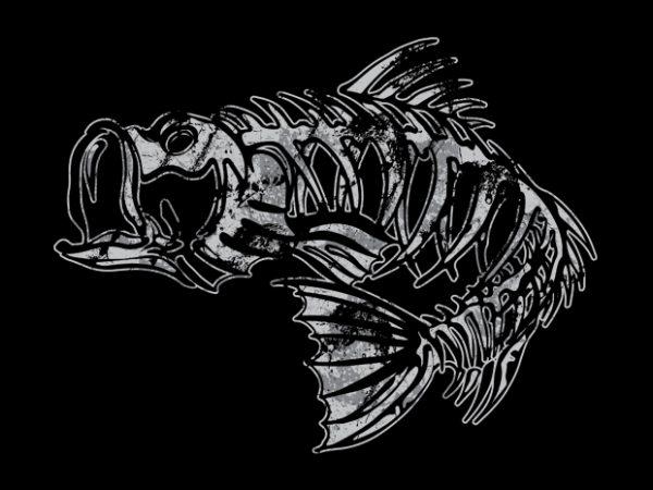 Bass skeleton vector t shirt design artwork