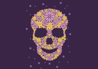 Flowers Skull t shirt design for sale