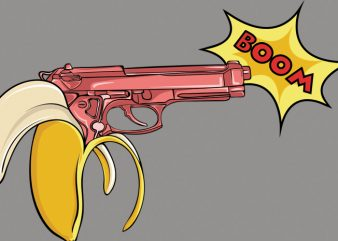 Banana gun vector t-shirt design template