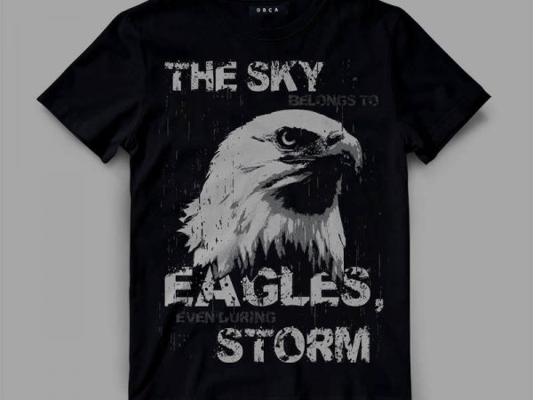 Eagle sky storm commercial use t-shirt design
