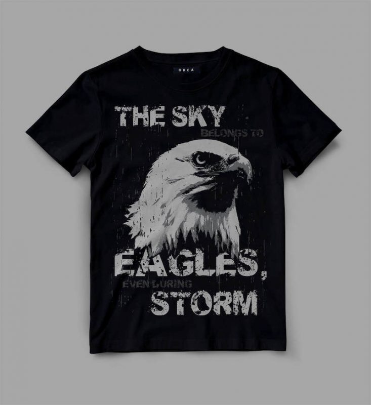 Eagle sky storm t shirt designs for printify