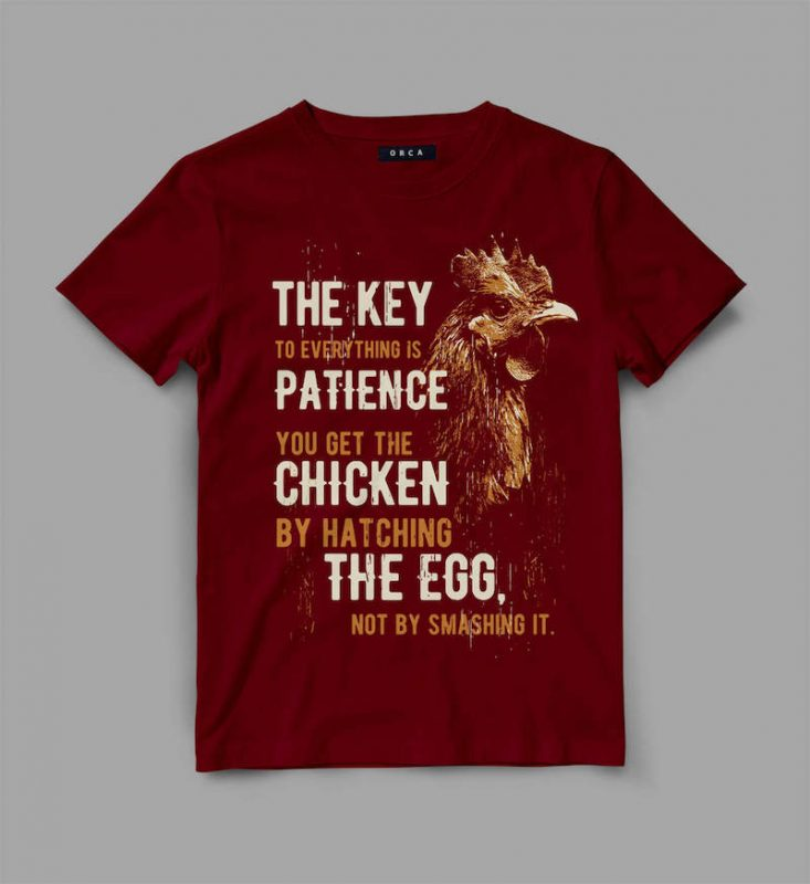 Chicken patience Vector t-shirt design t shirt designs for printify