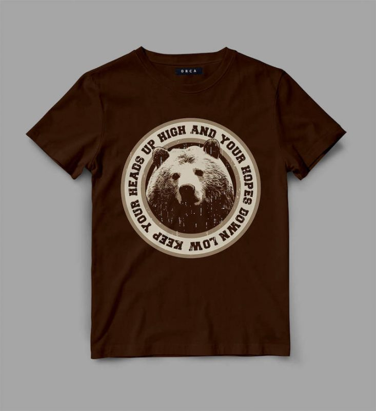 Bear Head Graphic tee design commercial use t shirt designs
