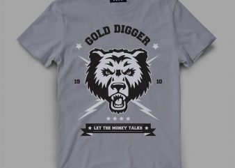 bear 3 gold Vector t-shirt design