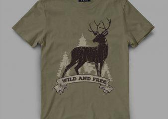 deer 2 rib Vector t-shirt design
