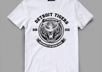 tiger 3 detroit Vector t-shirt design