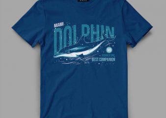 dolphin1 miami Vector t-shirt design