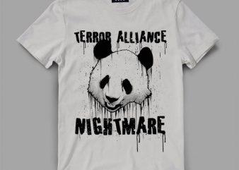 Panda Terror Vector t-shirt design