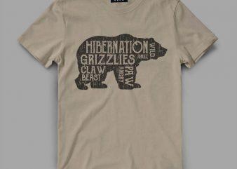 Bear Hiber Vector t-shirt design