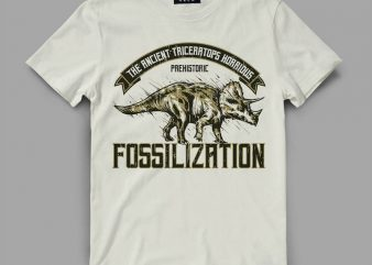 Triceratops Fossil Vector t-shirt design