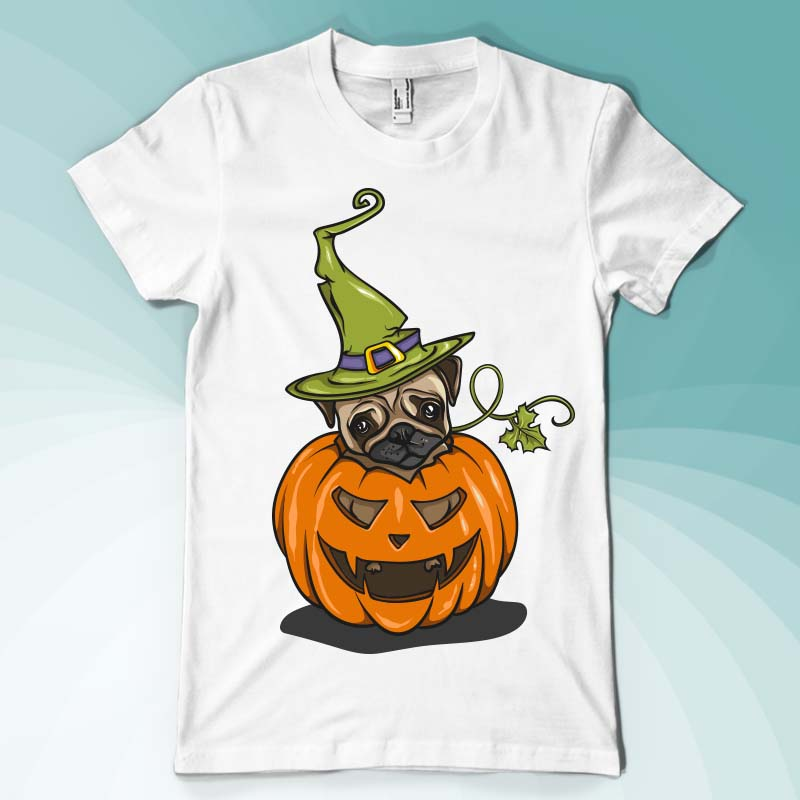 Pumpkin pug vector shirt designs