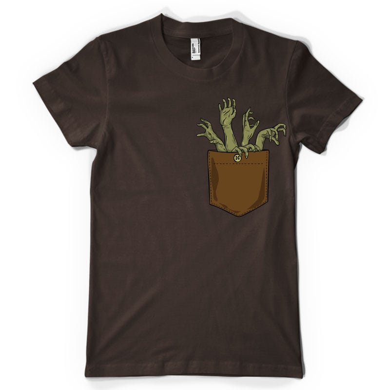 Zombie hands pocket tshirt design for merch by amazon