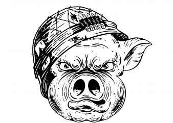 Soldier pig. Vector t-shirt design