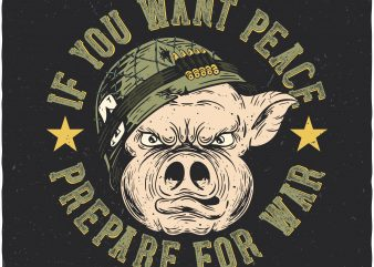 Soldier pig. Vector t-shirt design