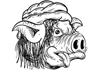 Rastaman pig. Vector t-shirt design