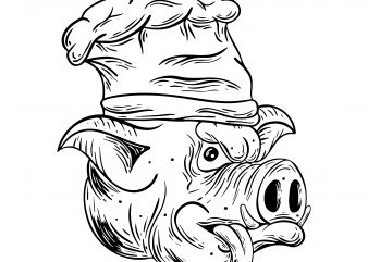 Cook pig. Vector t-shirt design