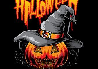 Pumpkins Witch t shirt illustration