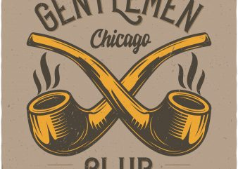 Gentlemen club. Vector T-Shirt Design