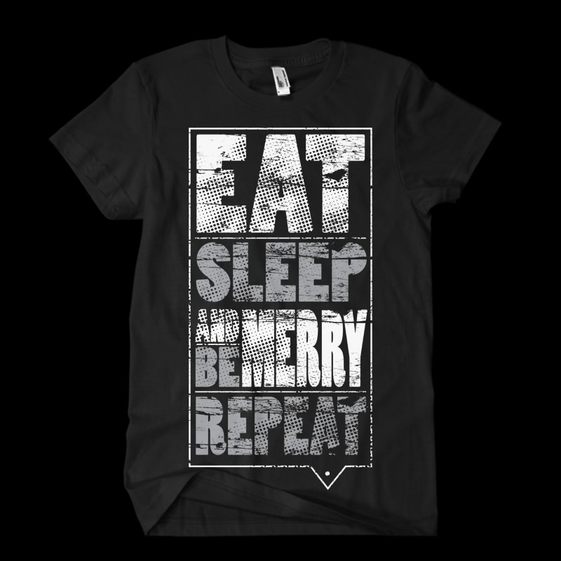 Eat sleep be merry repeat t-shirt designs for merch by amazon