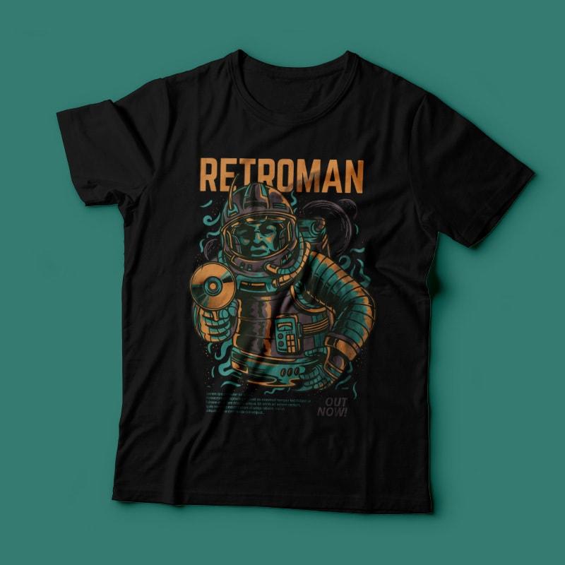 Retroman t shirt designs for printify