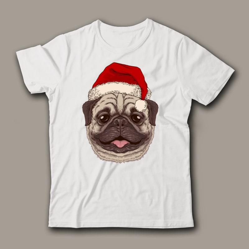 Santa Pug Graphic Tee Design buy t shirt design