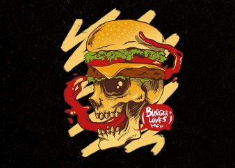 burger loves me print ready t shirt design