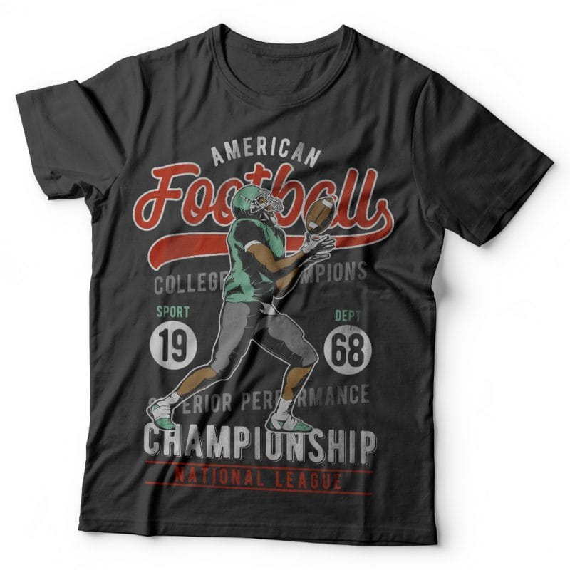 American Football. Vector T-Shirt Design t shirt designs for printful