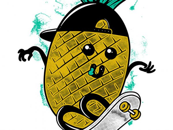 Pineapple Skateboarding commercial use t-shirt design