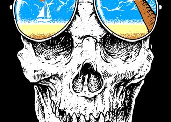 Skull Holiday commercial use t-shirt design