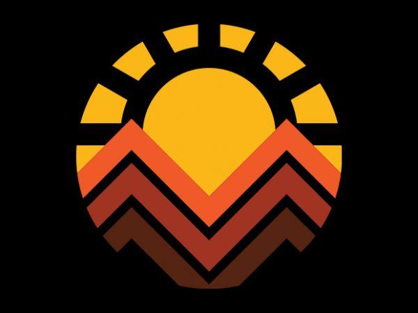 Sunset Mountain vector shirt design