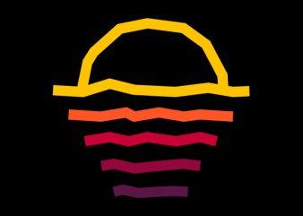 Sunset Line t shirt template vector