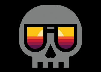Sunset Skull t shirt design for purchase