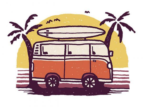 Sunset Van t shirt design for sale