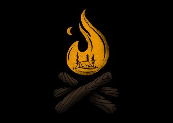 Camp and Bonfire t shirt vector file