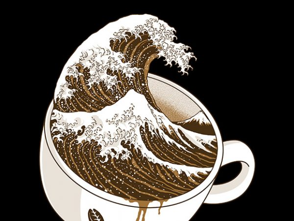 The Great Wave off Coffee t shirt design template