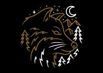 Wolf Wild graphic t-shirt design