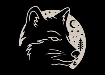 Wolf Moon t-shirt design for commercial use