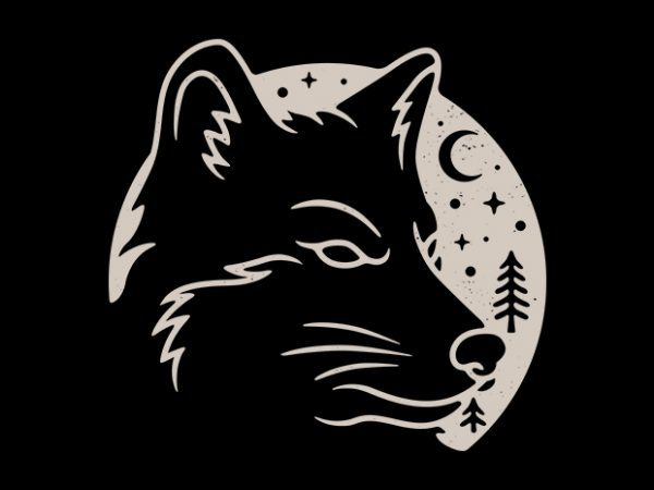 Wolf Moon t shirt design for sale