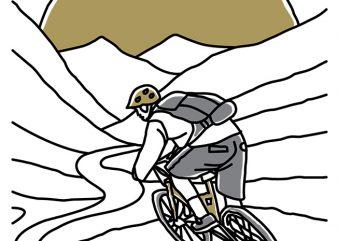 Mountain Biker vector t-shirt design for commercial use