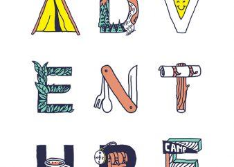 Adventure Typography t shirt vector