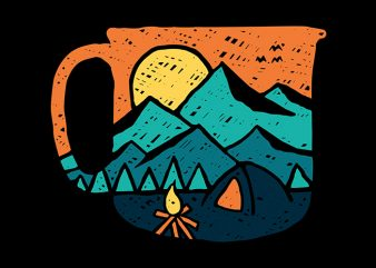 Coffee and Adventure print ready t shirt design