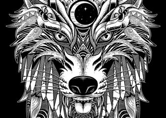 Wolf commercial use t-shirt design