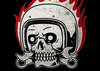 Skull Biker t-shirt design for commercial use